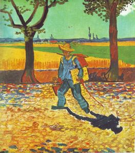 Vincent_Van_Gogh_on_the_road_to Montmajour_El Pintor de camino al trabajo_1888